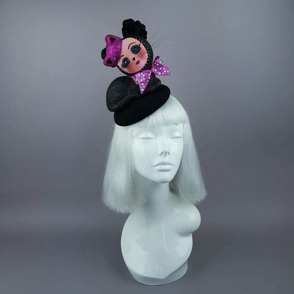 """Izzy"" Doll Face Black Kitty Hat"