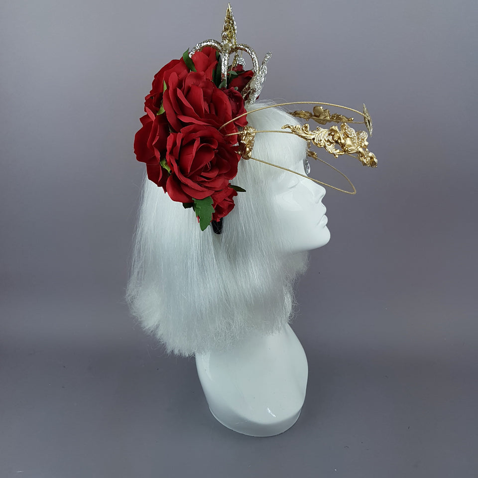 """Euphorie"" Red Rose, Crown & Gold Cherub Headpiece"