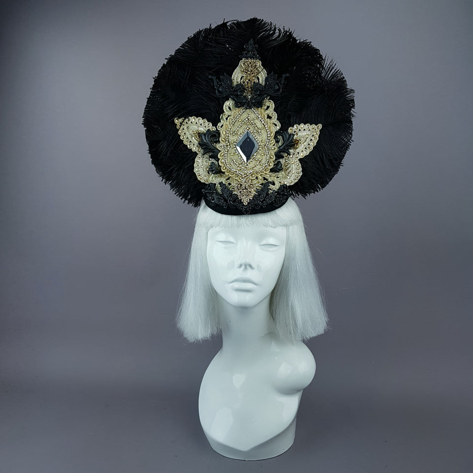 """Lujo"" Black & Gold Feather & Filigree Headdress"