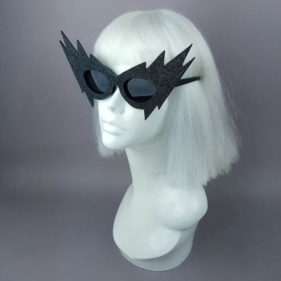"""Flash"" Black Glitter Smaller Lightning Bolt Sunglasses"