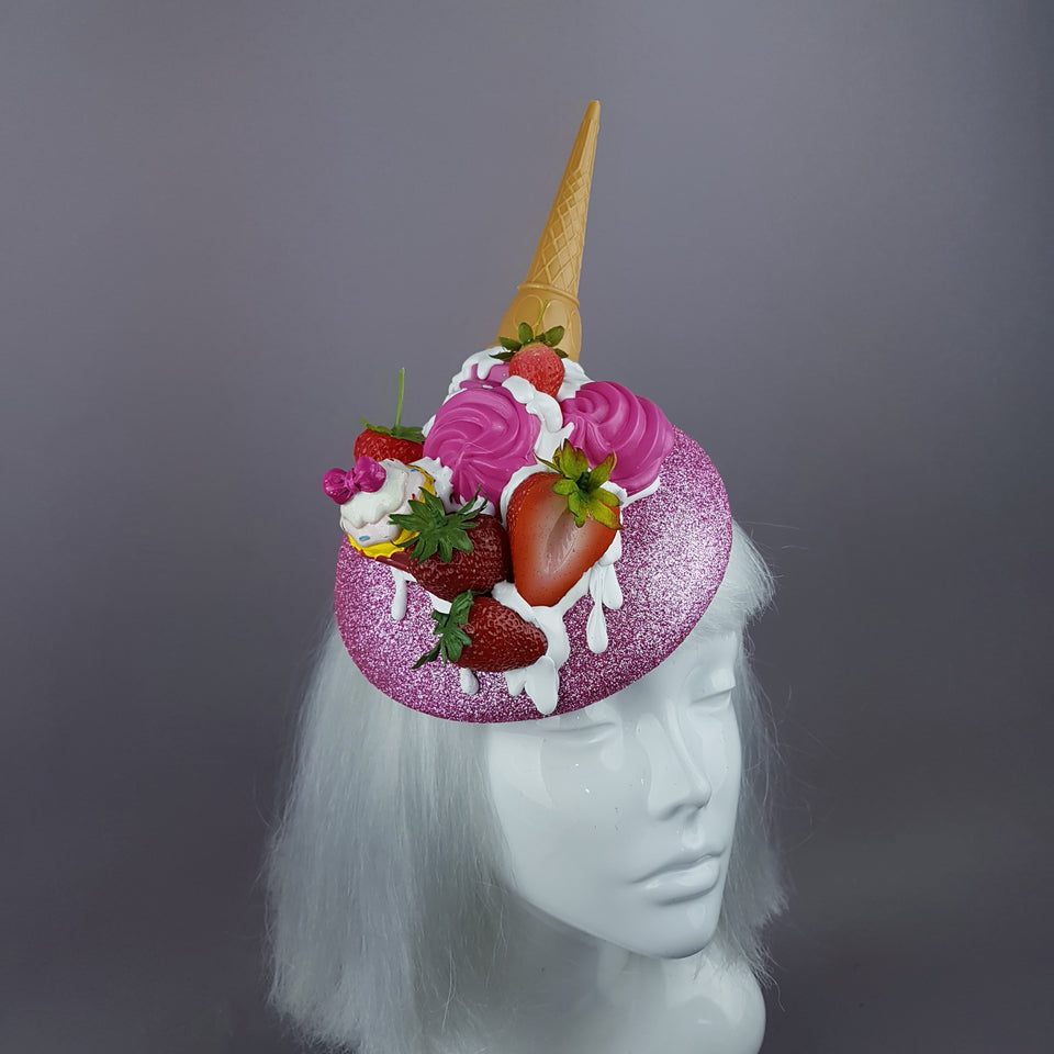 """Lezzetli"" Dropped Ice Cream & Strawberry Glitter Hat"