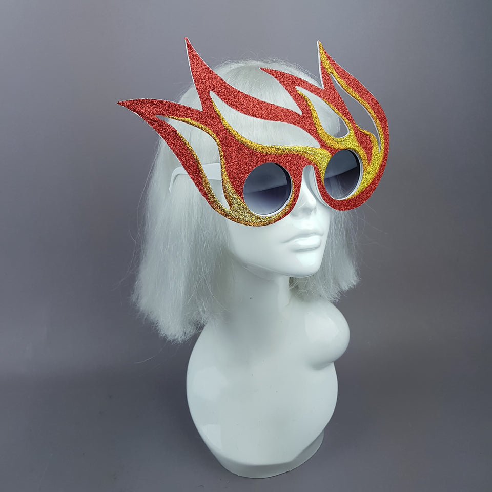 """Ignite"" Red, Orange, Gold Flame Sunglasses"