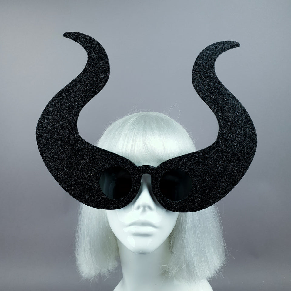 """Deity"" Black Glitter Devil Horn Sunglasses"