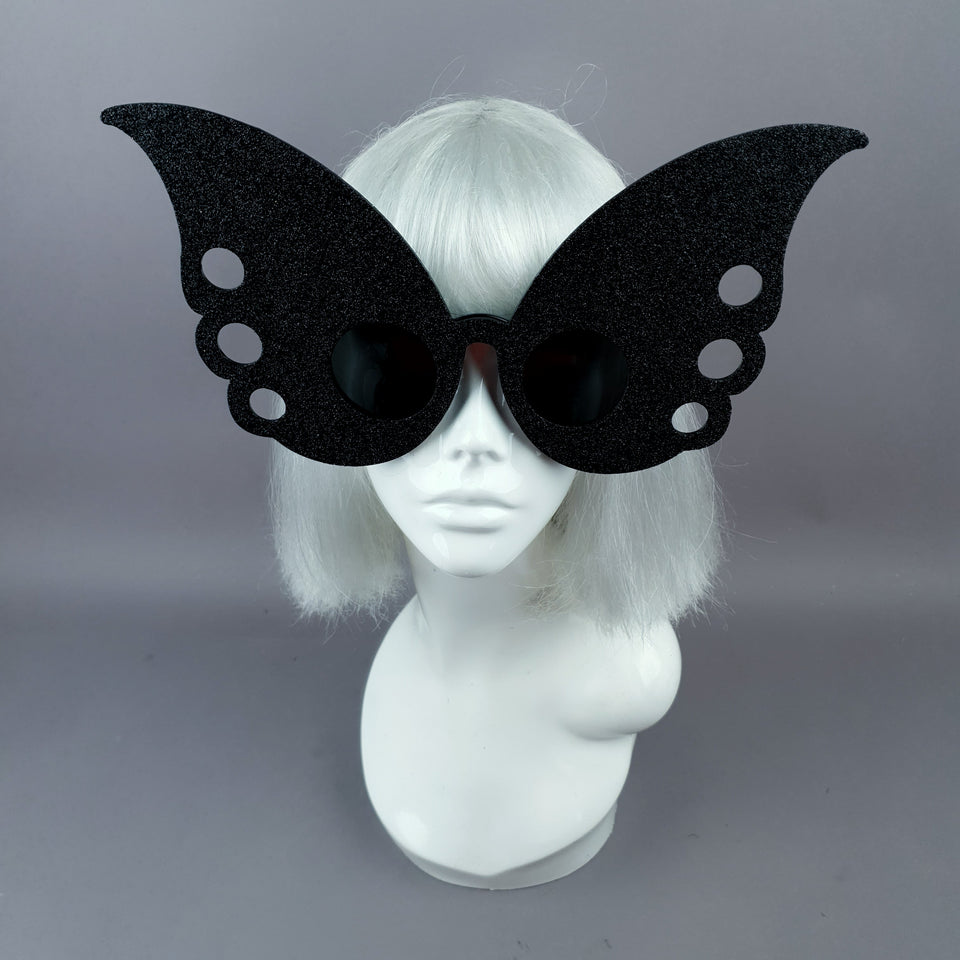 """Gaia"" Oversized Black Glitter Butterfly Sunglasses"