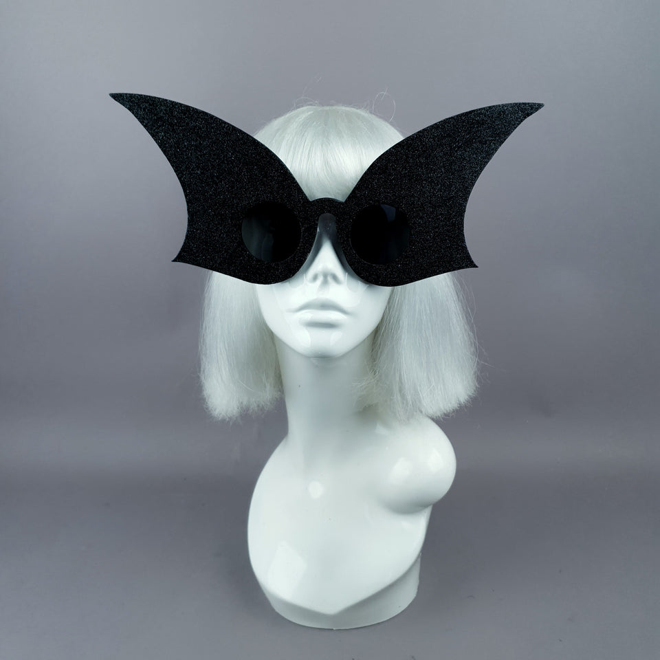 """Eris"" Oversized Black Glitter Shaped Sunglasses"