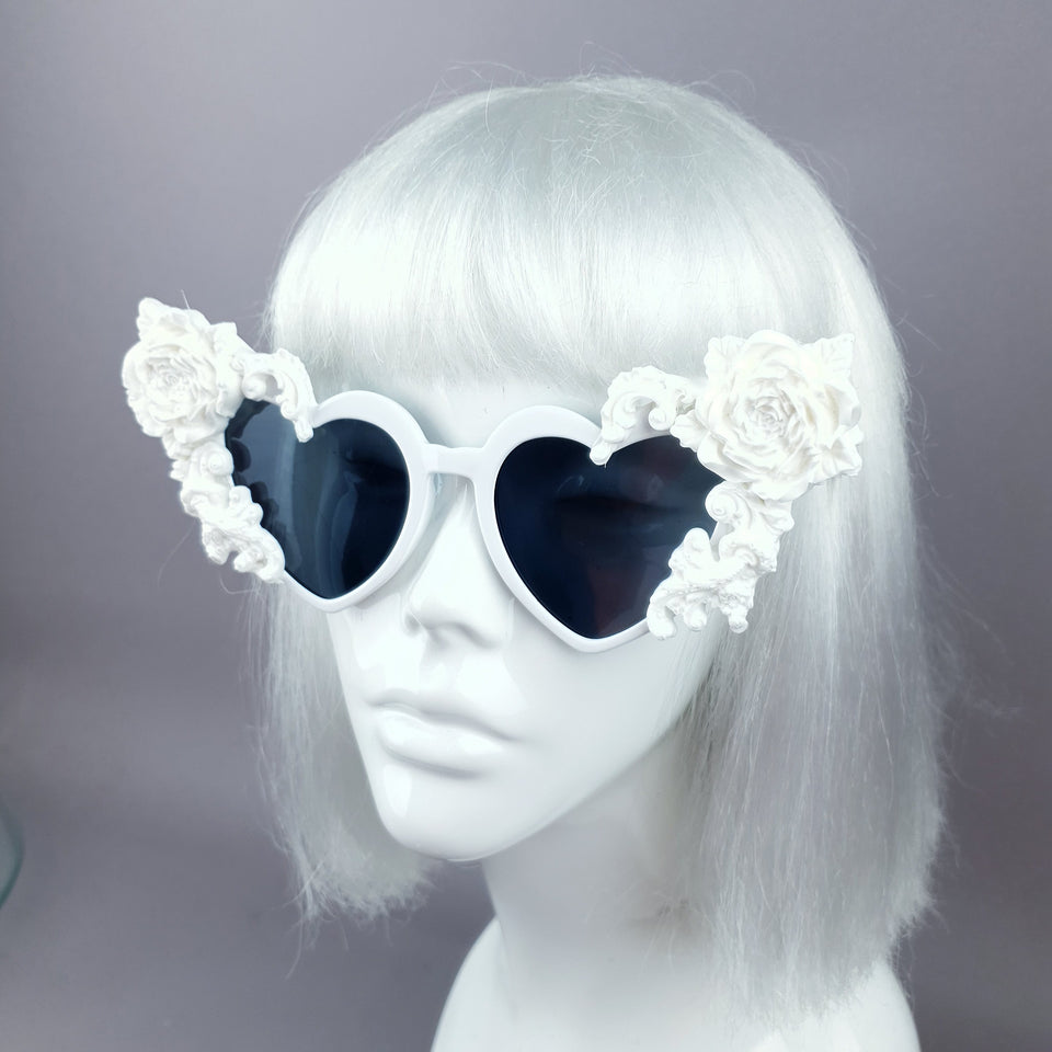 """Lisha"" White Rose & Filigree Heart Shaped Sunglasses"