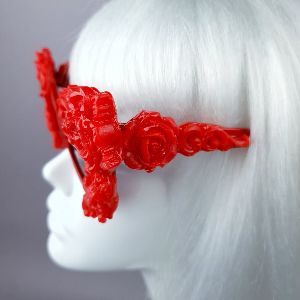 """Saudade"" Red Baroque Rose Cat Eye Shaped Sunglasses"