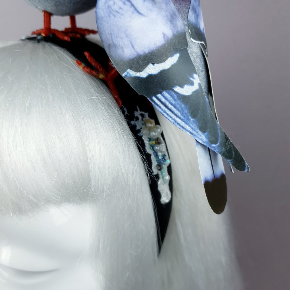"""Wabi-Sabi"" Whimsical Pigeons in Love Poop Headband"