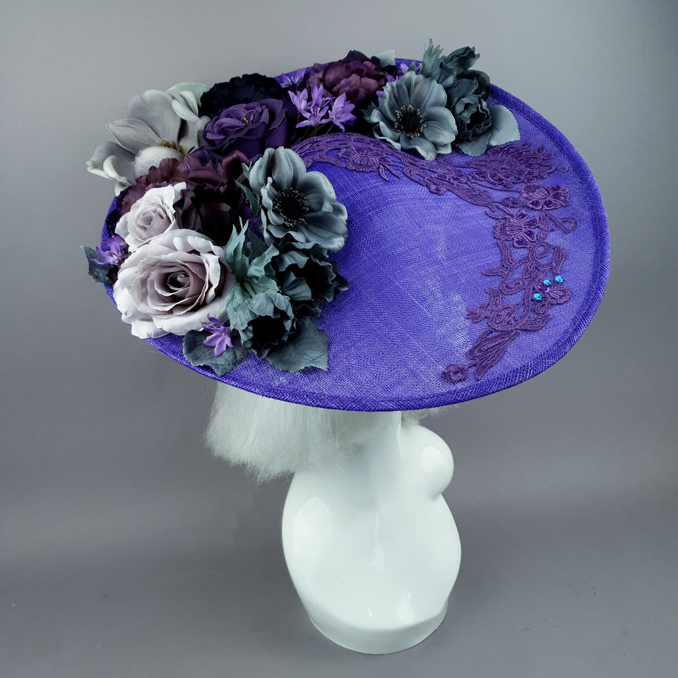 """Lilla"" Purple Flowers & Lace Hat"