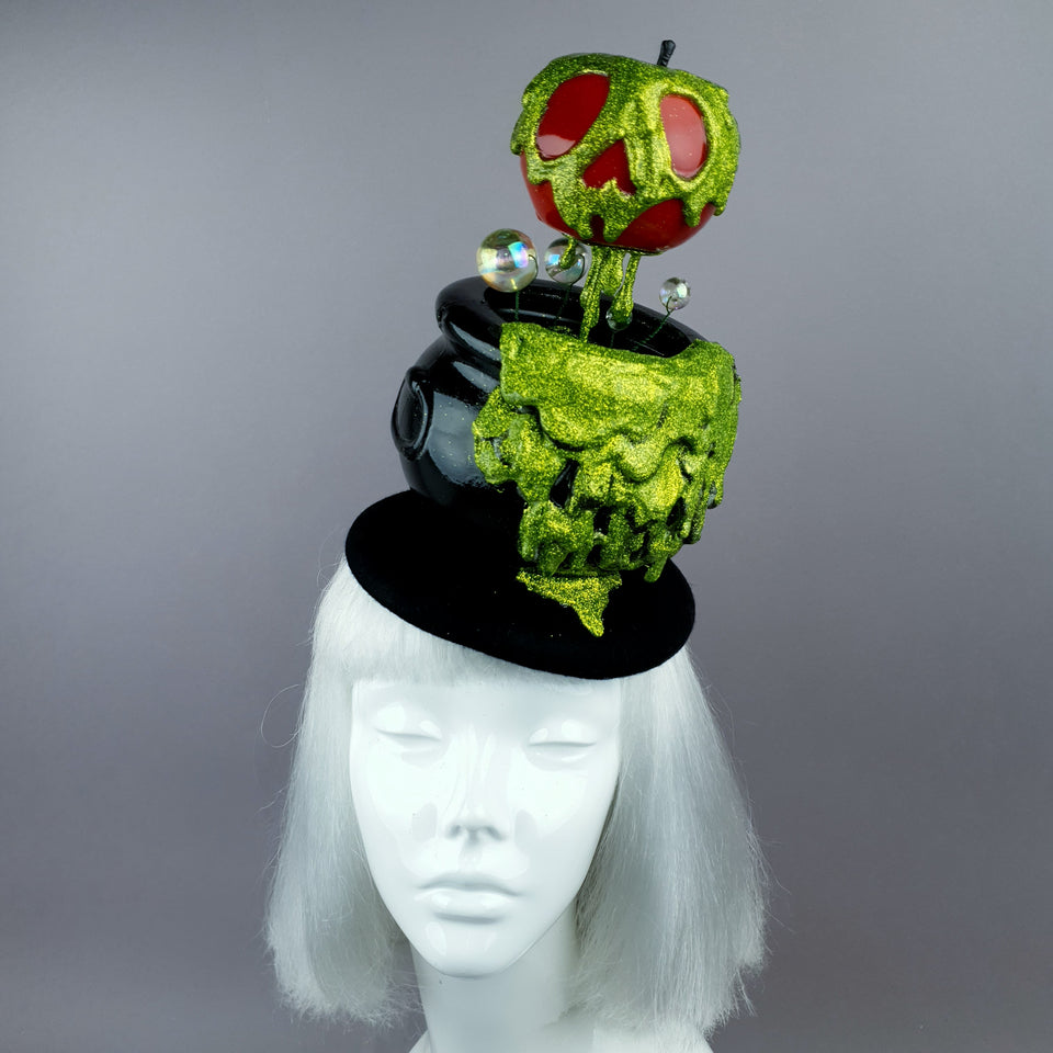 """Bite"" Kitsch Glitter Poison Apple Fascinator Hat"