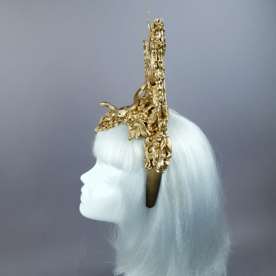 """Minoan"" Gold Filigree Snake Halo Headpiece"