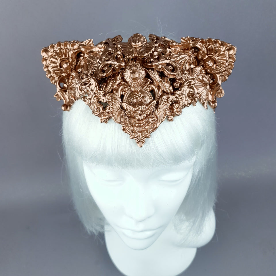 """Faline"" Copper Filigree Cat Ear Headpiece"