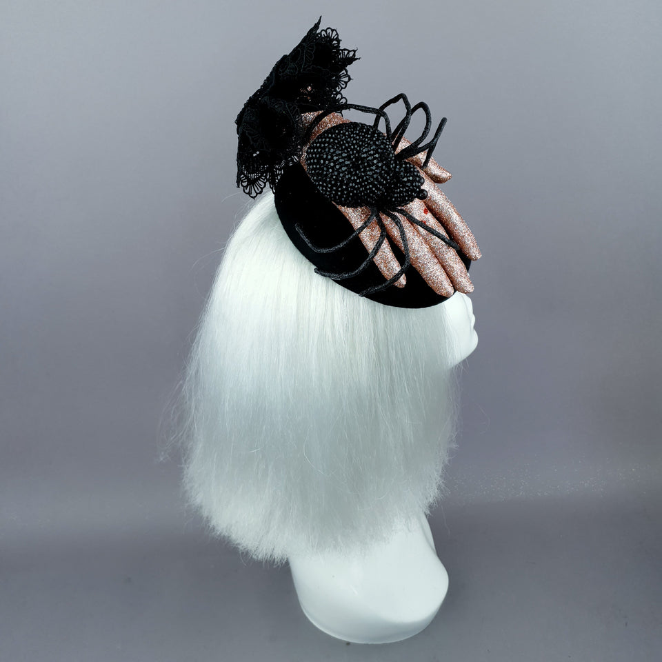 """Dearly Departed"" Crystal Spider & Hand Halloween Hat"