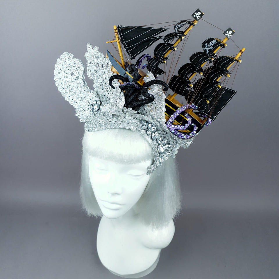 """Vindicta"" Silver Ship, Lace & Tentacle Headdress"