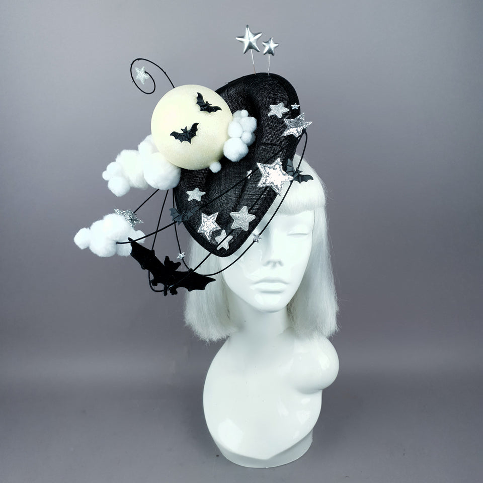 """Darkness Falls"" Bats, Moon, Clouds Fascinator Hat"