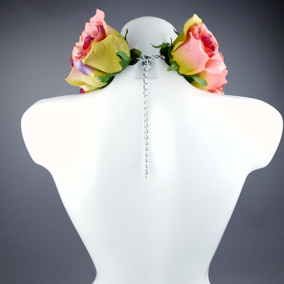 """Embrace"" Pink Rose Collar Neckpiece"