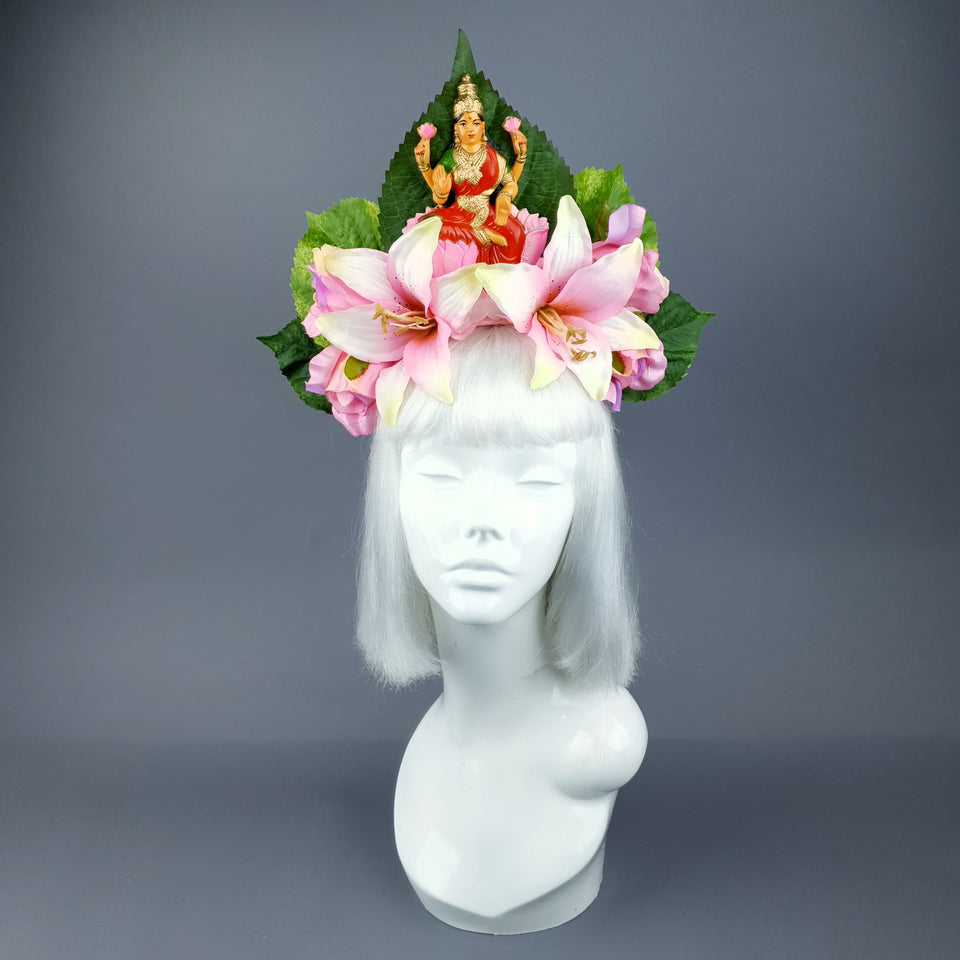 Pink Flower Headdress with Lakshmi