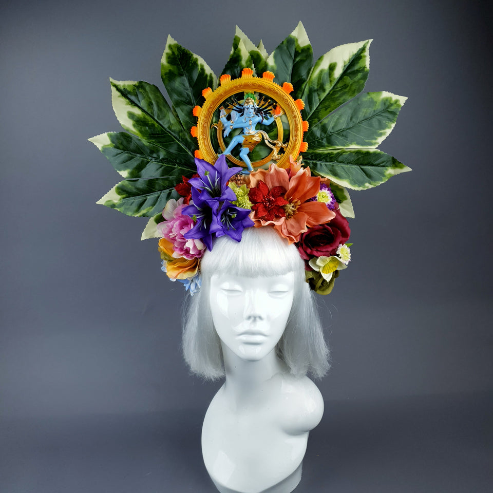 Extra Large Flower Headdress with Nataraja