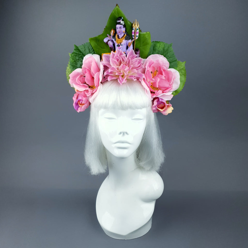 Pink Flower Headdress with Shiva