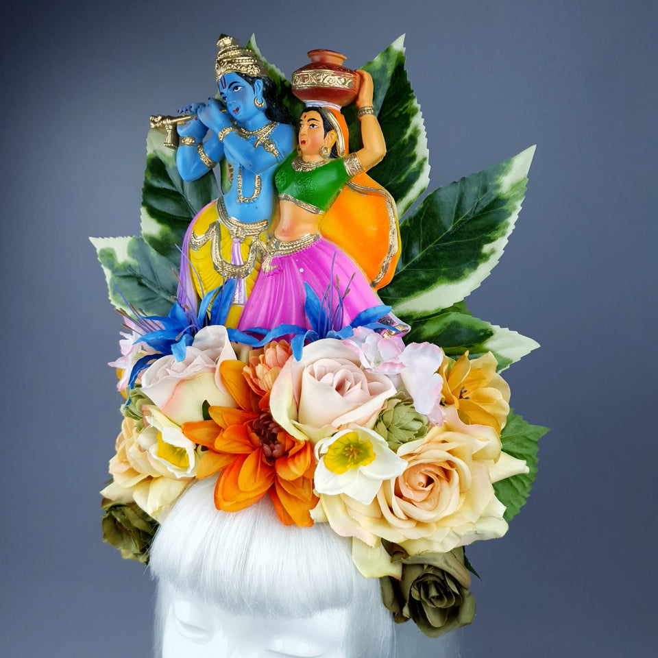 XL Colourful Flower Headdress with Krishna & Radha