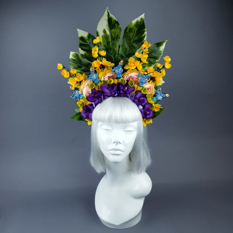 XL Colourful Flower Headdress with 5 Krishnas