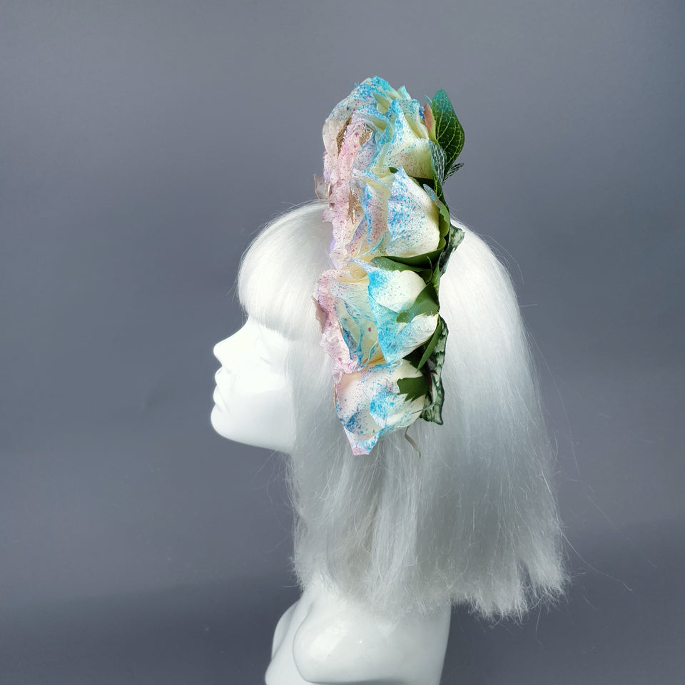 Rainbow Skull Rose Flower Headdress 48