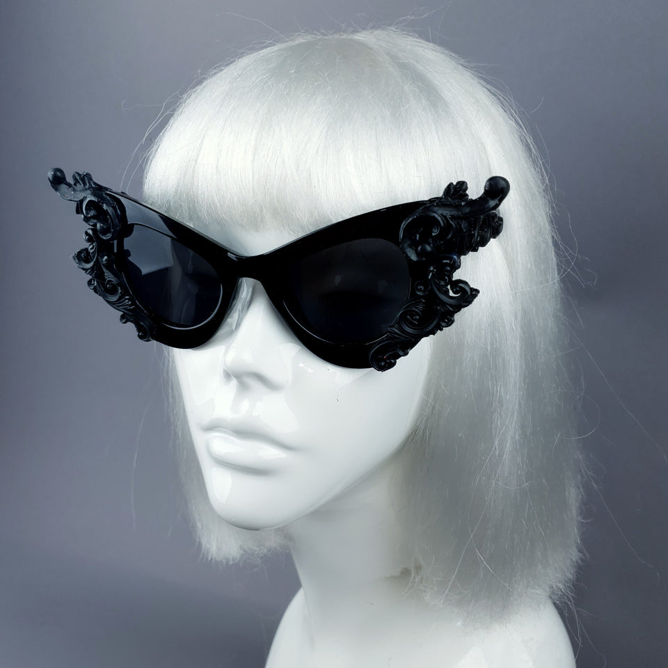 """Gothique"" Black Filigree Catseye Sunglasses"