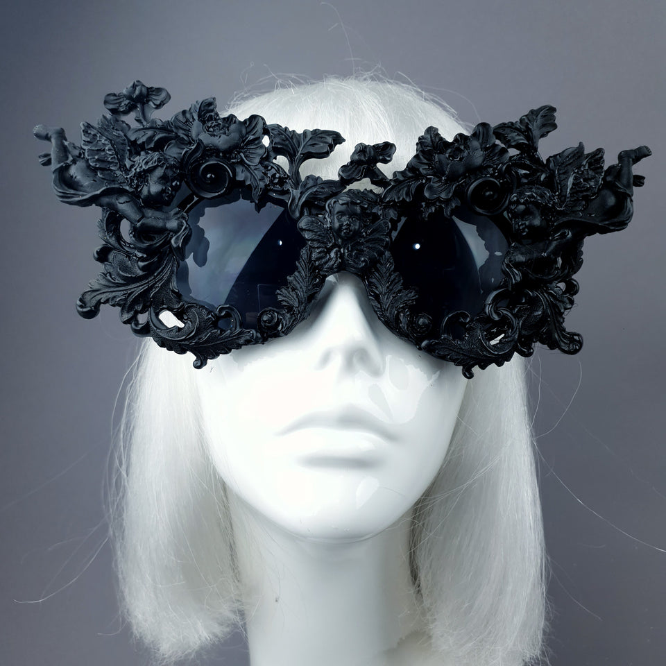 """Angelo"" Black Filigree Ornate Sunglasses"