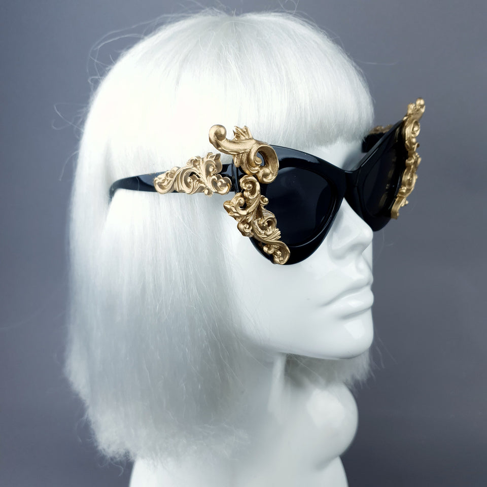 """Gothique"" Black & Gold Filigree Bat Catseye Sunglasses"