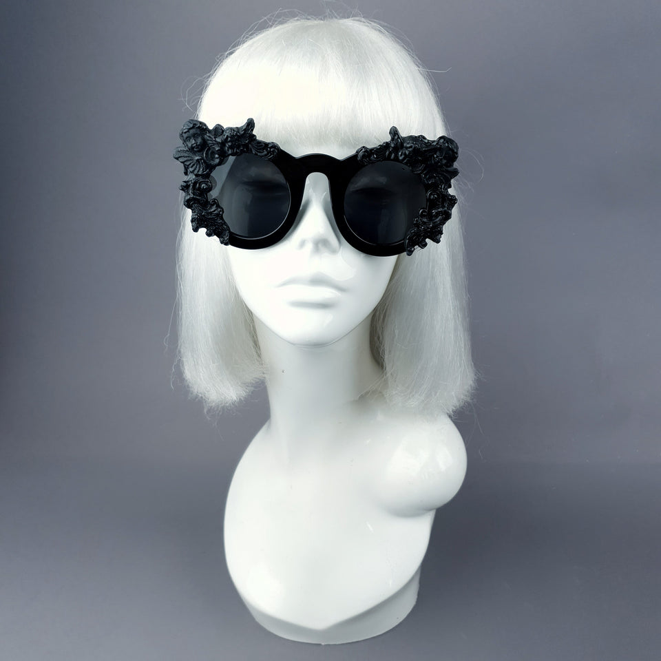 """Khalida"" Black Filigree Ornate Sunglasses"