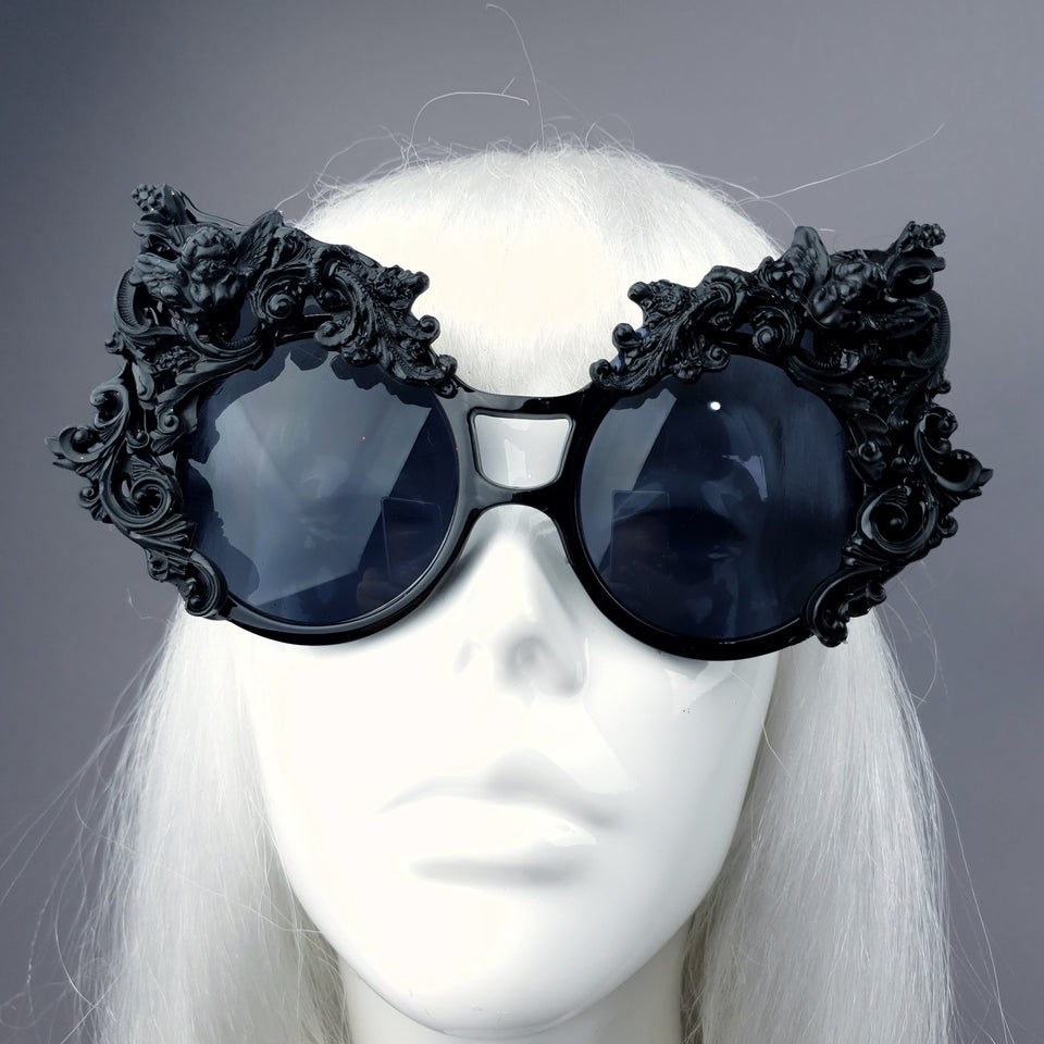 """Selima"" Black Filigree Ornate Sunglasses"