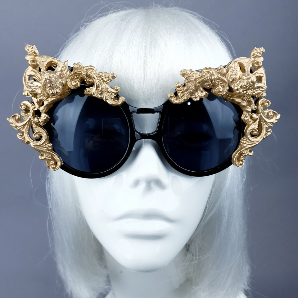 """Selima"" Black & Gold Filigree Ornate Sunglasses"