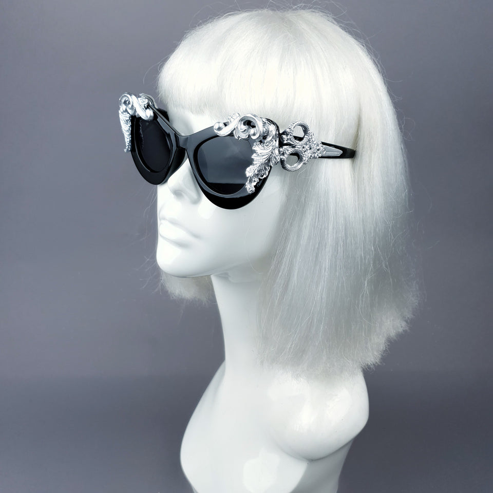 """Amara"" Black & Silver Filigree Catseye Sunglasses"