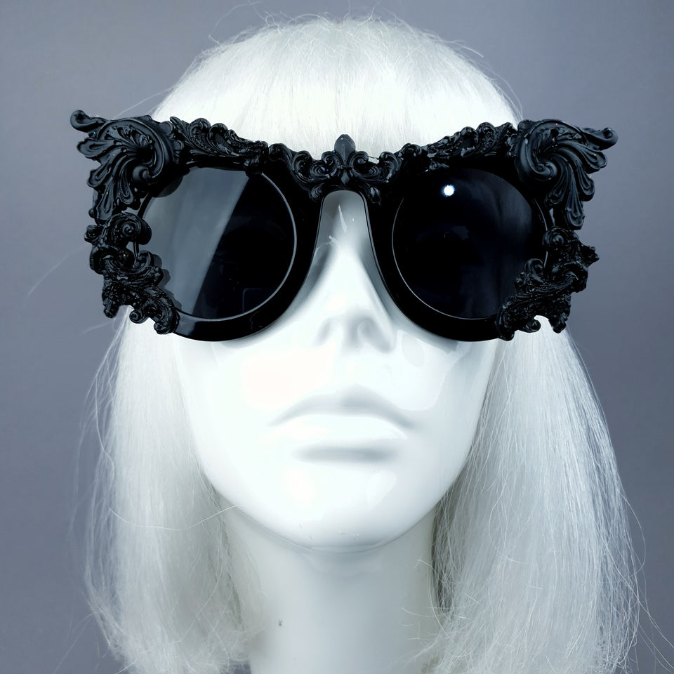 """Dabria"" Black Filigree Ornate Sunglasses"