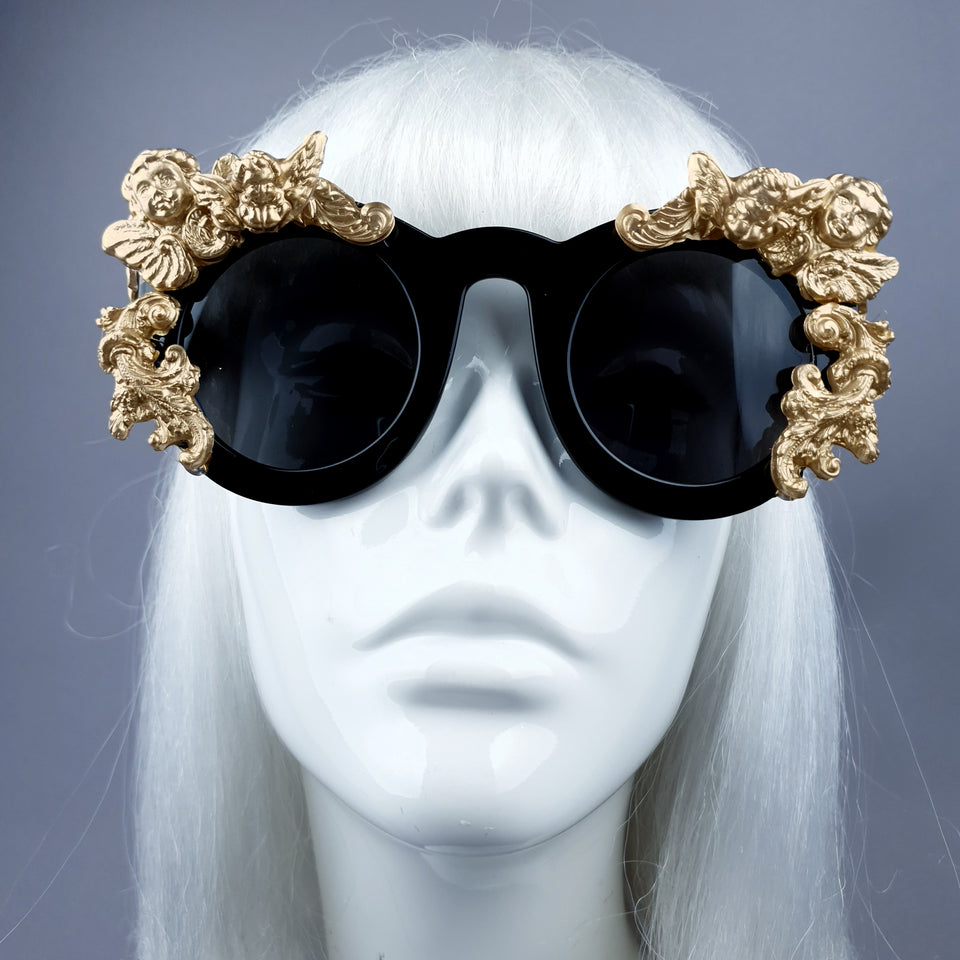 """Khalida"" Black & Gold Filigree Ornate Sunglasses"
