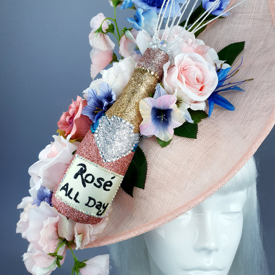 """Pop!"" Pink Champagne Bottle Glitter Hat"