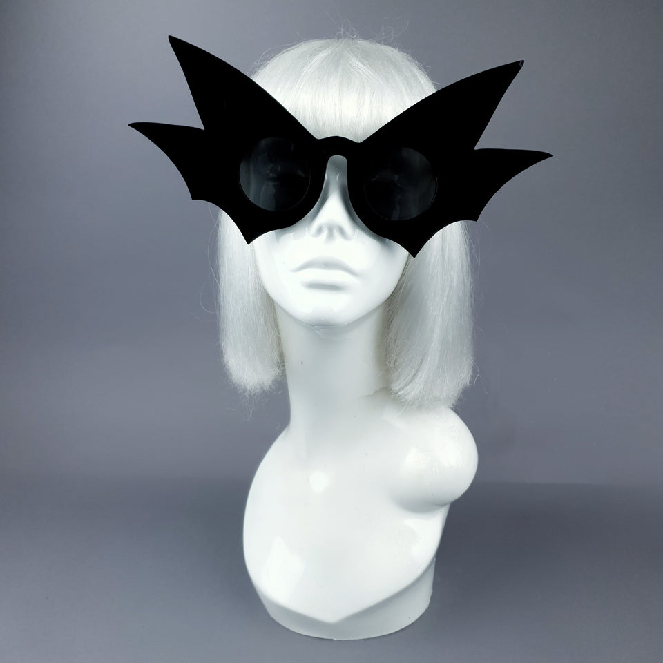 """Nerezza"" Oversized Black Bat Wing Sunglasses"