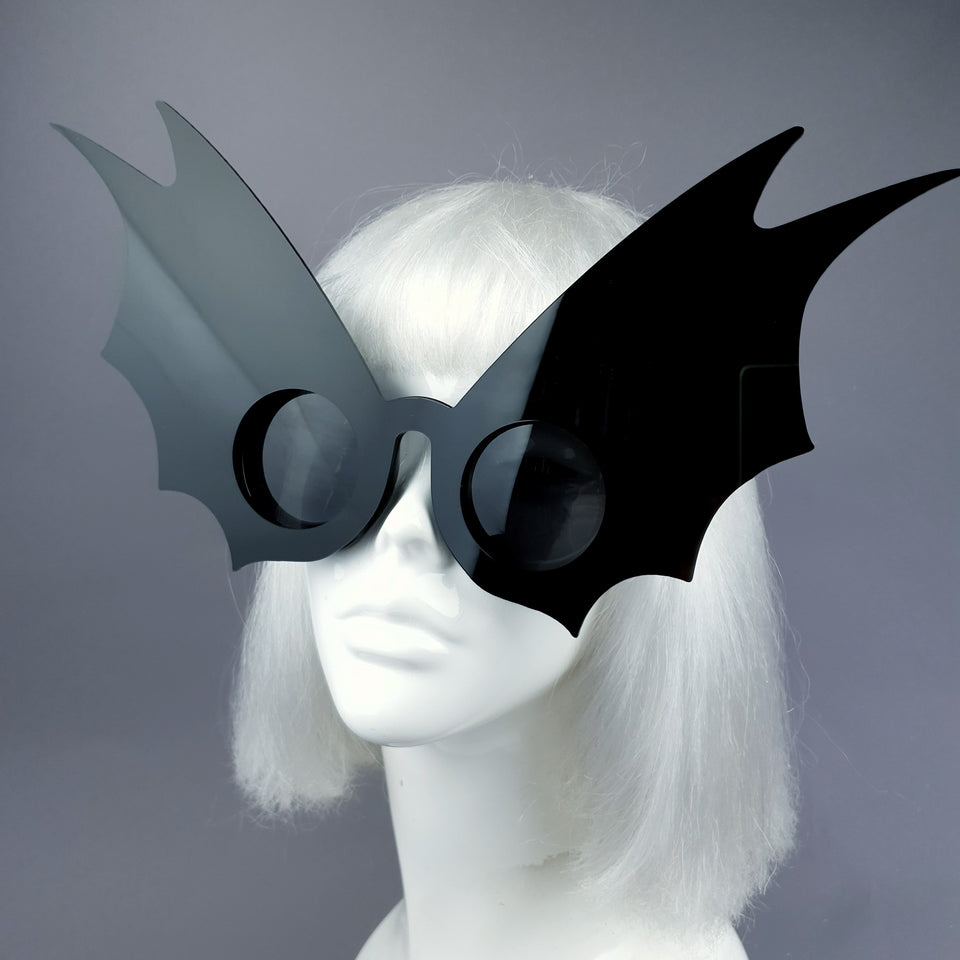 """Morana"" Oversized Black Bat Wing Sunglasses"