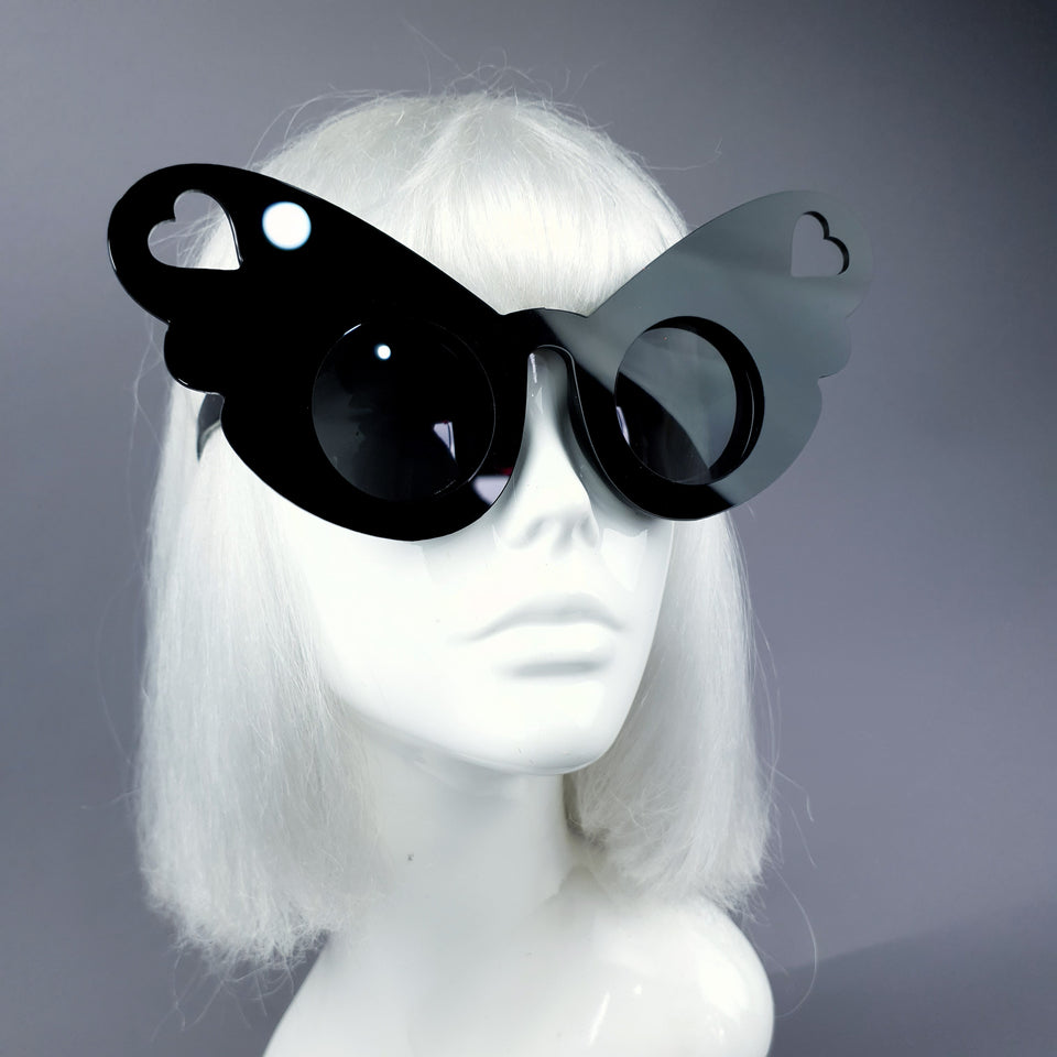 """Omisha"" Oversized Heart Butterfly Wing Sunglasses"