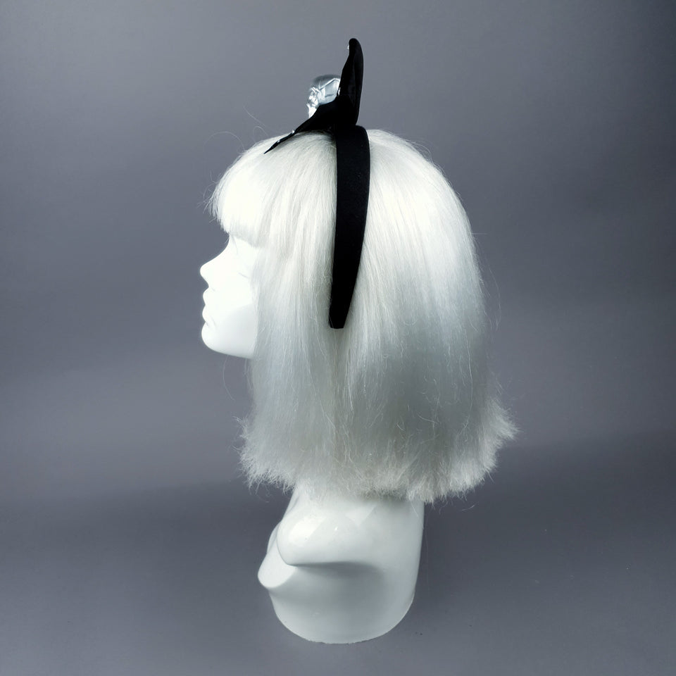 Silver Skull & Velvet Bow Headpiece