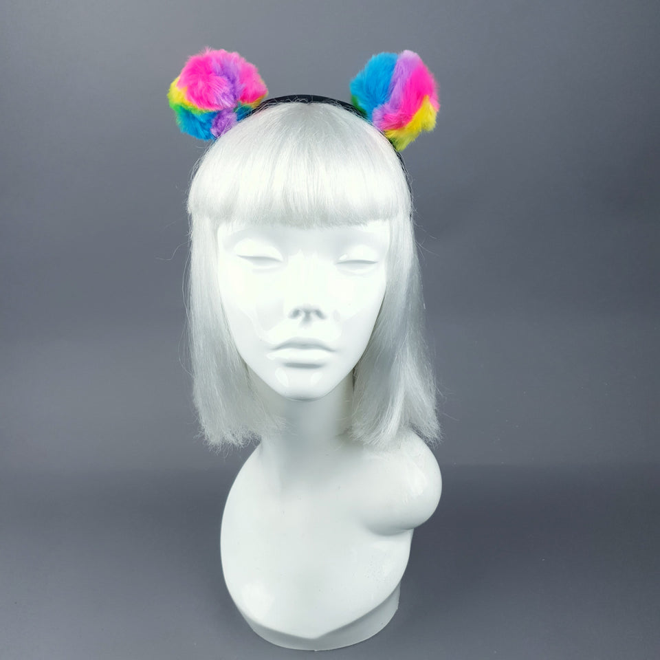 Rainbow Faux Fur Pompom Headpiece