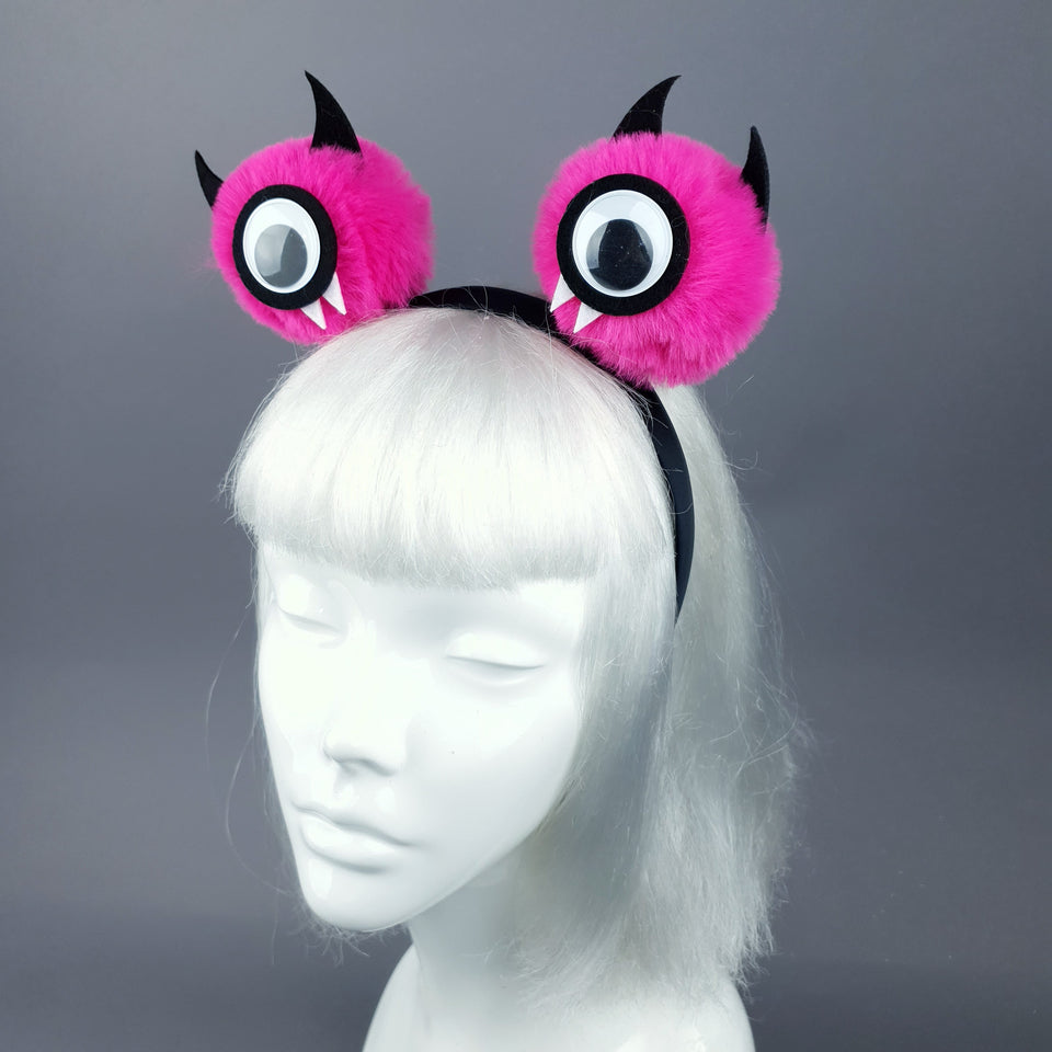Pink Eye Devil Faux Fur Pompom Headpiece