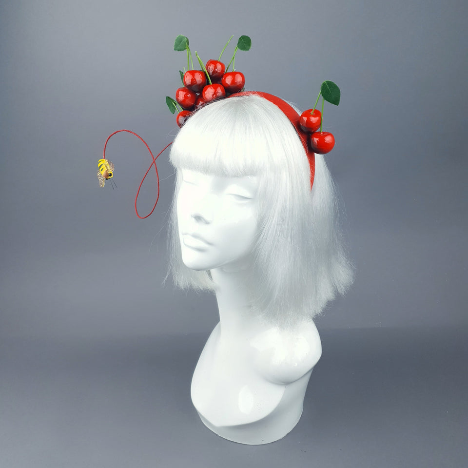 """Cirera"" Red Cherry & Bee Headpiece"