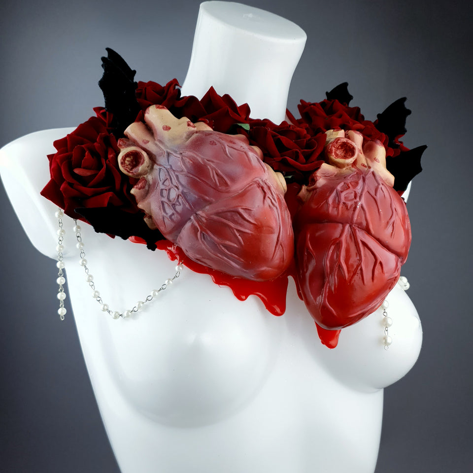 """2 Hearts Beat As 1"" Red Rose, Anatomical Heart & Bat Wing Neckpiece"