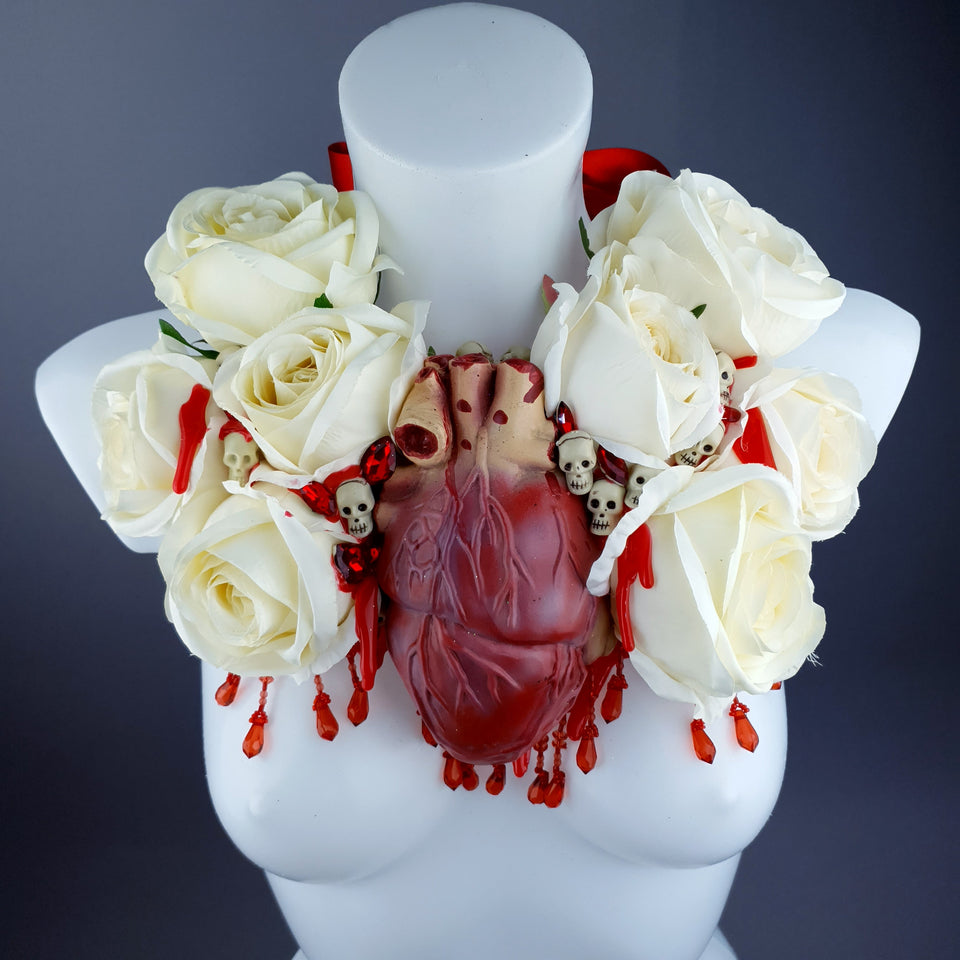 """Gouge Away"" Ivory Rose, Anatomical Heart & Skulls Neckpiece"