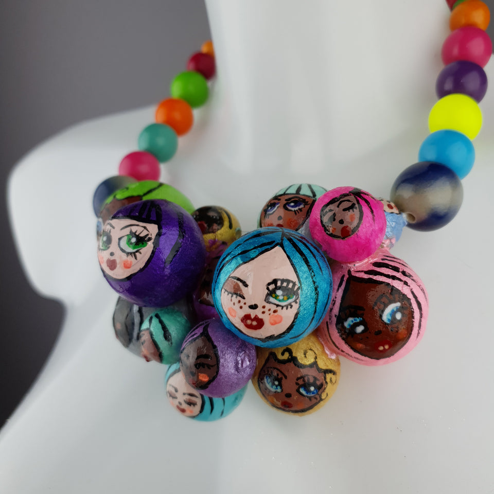 """Colourful Poppets"" Bubble DollFace Necklace"