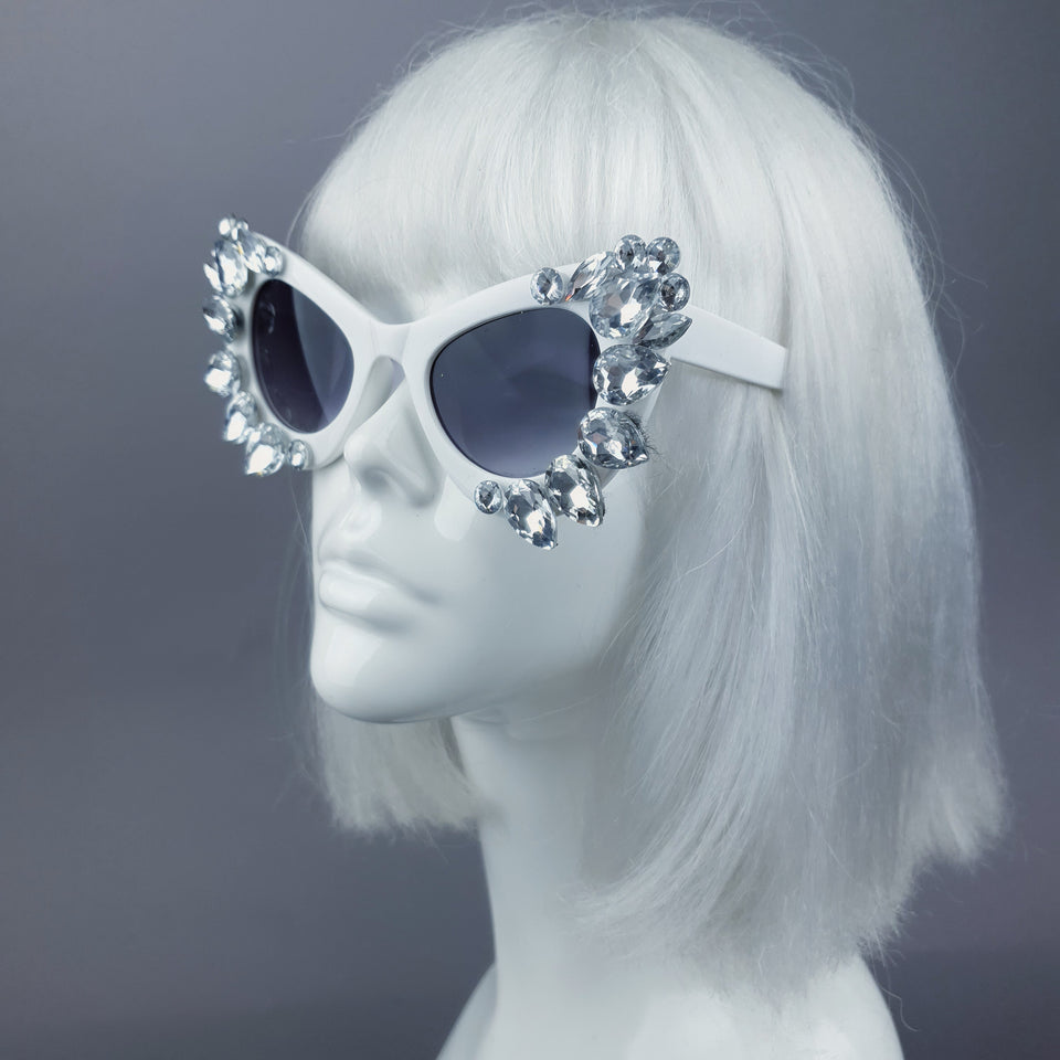 Clear Gem White Sunglasses