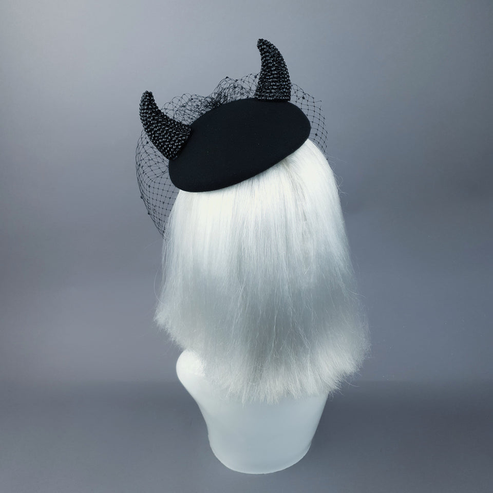 """The Devil Is A Woman"" Black Crystal Horns Veil Fascinator Hat"