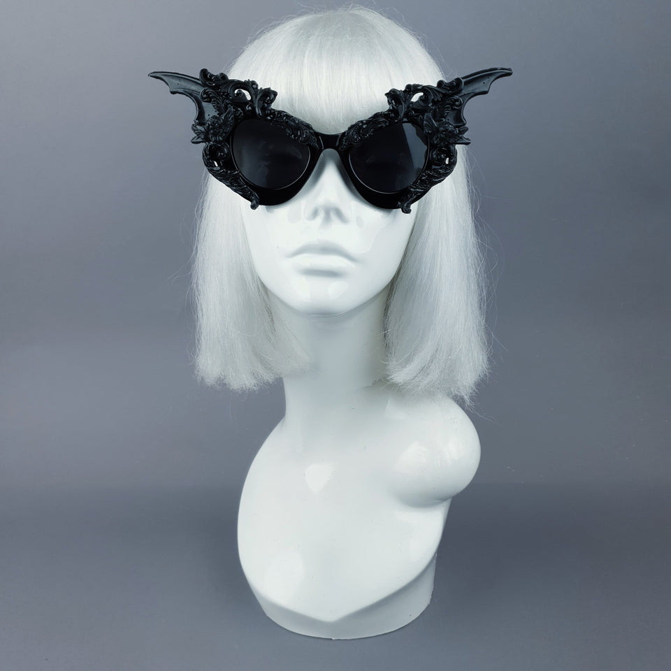 """Bathory"" Black Filigree Ornate Bat Wing & Cherub  Sunglasses"