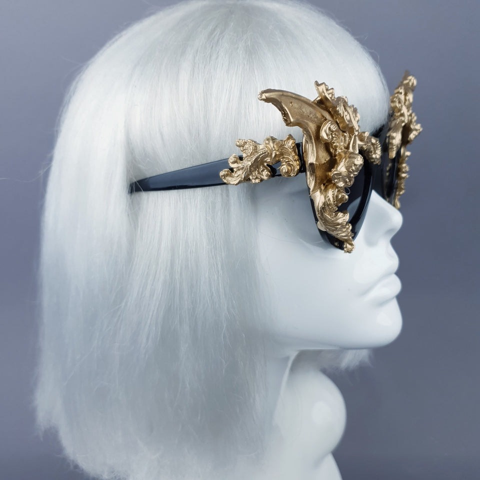 """Bathory"" Black & Gold Filigree Ornate Bat Wing & Cherub  Sunglasses"